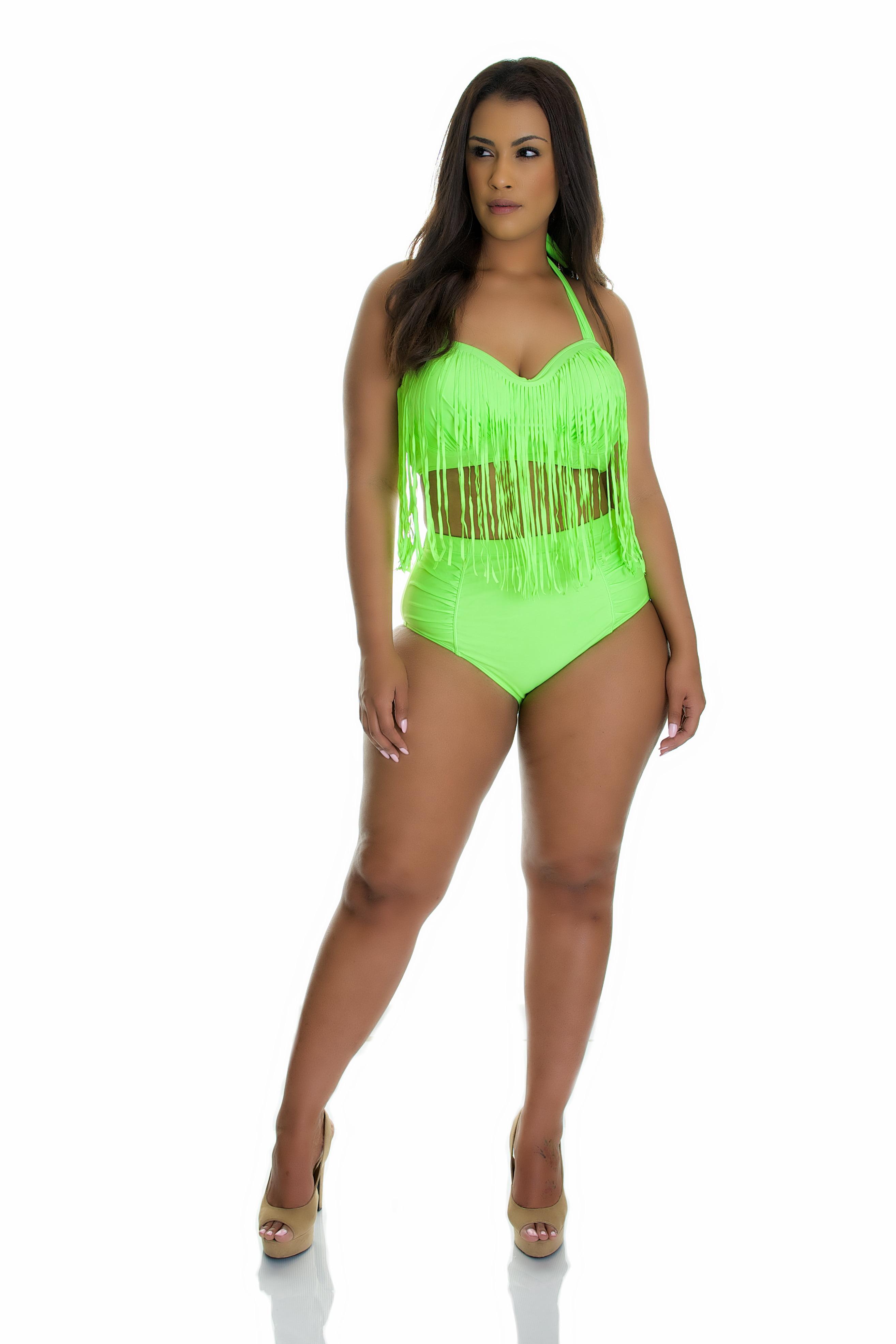 Women's Plus Size Fringe Bikini Green, 2X