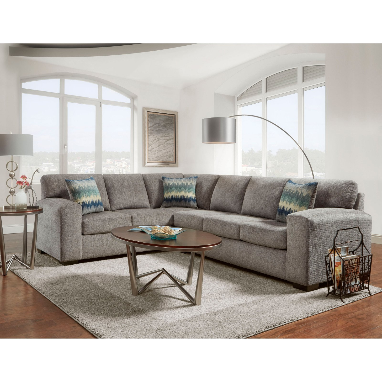 Roundhill Furniture Bergen Silverton Pewter Fabric Sectional Sofa