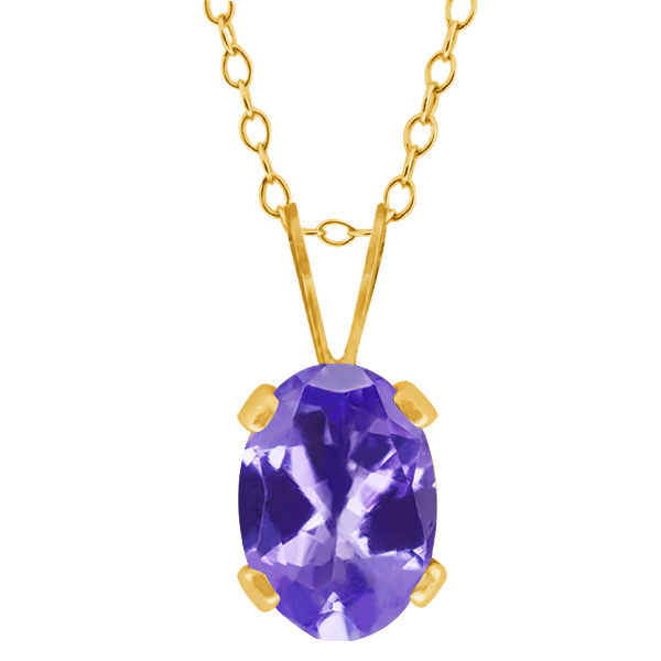 0.75 Ct Oval Shape Blue Tanzanite Yellow Gold Plated Silver Pendant