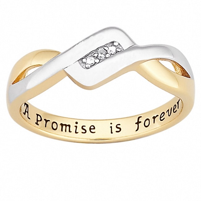 MBM 18k Gold over Sterling Silver 'A Promise is Forever' Diamond Ring