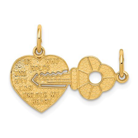 14k Yellow Gold Heart and Key Set of 2 Charm or Pendants, 23mm