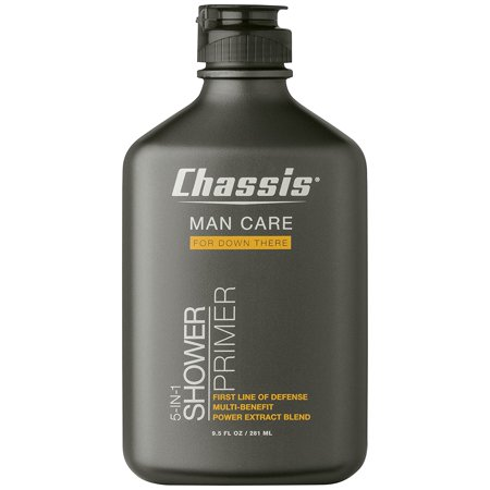 chassis 5-in-1 shower primer - mens anti-chafing gel and deep cleansing wash - talc, paraben, and menthol-free