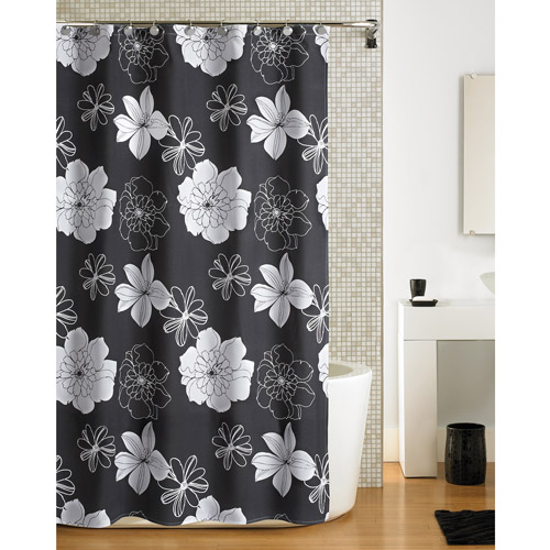 Hometrends Floral Fabric Shower Curtain, Black