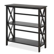 Costway Wooden Shelf Bookcase 3-Tier Open Bookshelf W/X-Design Freestanding Rack BlackBrownNaturalWhite