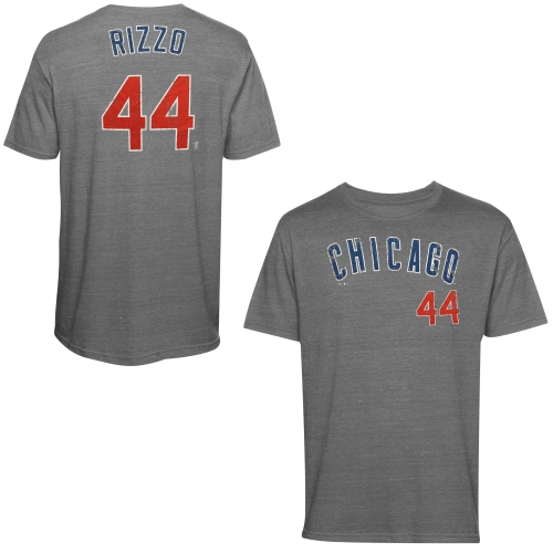 Anthony Rizzo Chicago Cubs Majestic Threads Premium Tri-Blend Name & Number T-Shirt - Gray