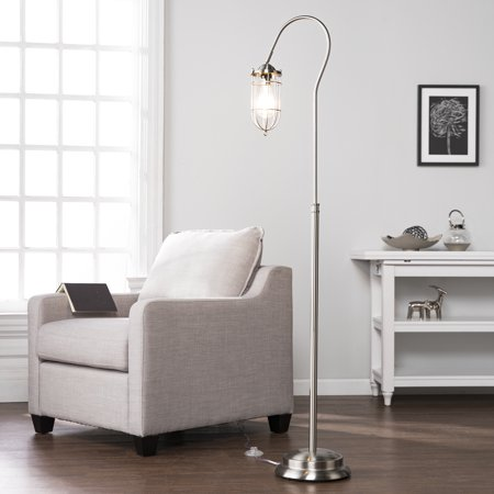 Southern Enterprises Terrance Floor Lamp, Contemporary Style, Brushed Nickel