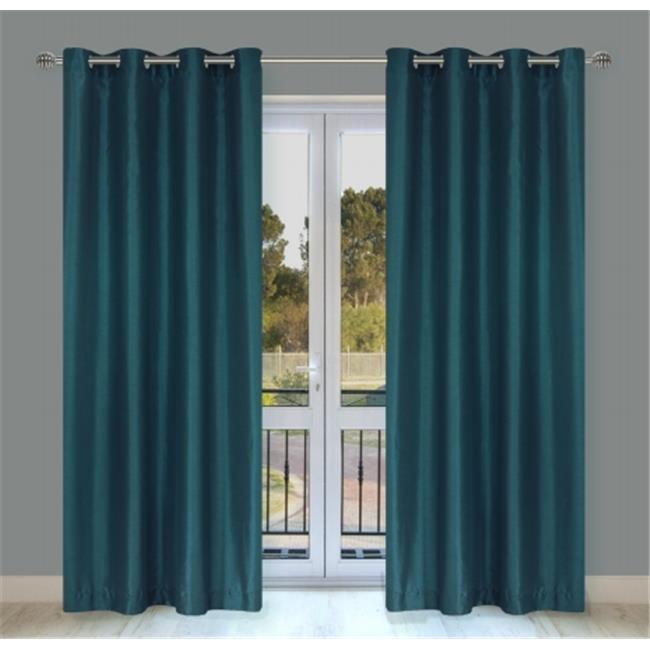 LJ Home Fashions OO327 Silkana Faux-Silk Window Panel Set in Blue By-You - set of 2
