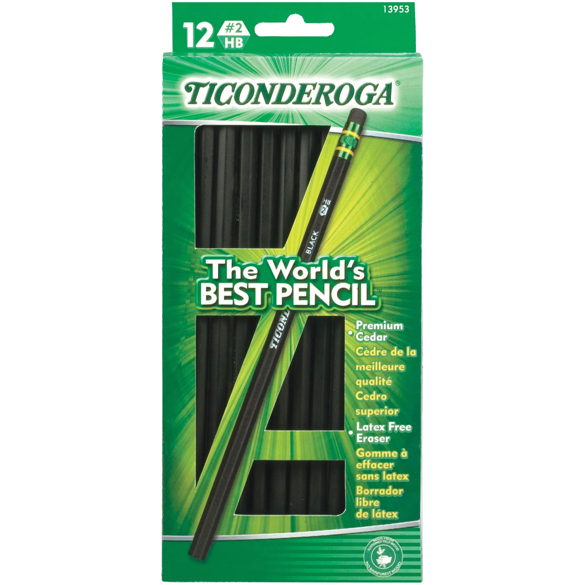 Ticonderoga Matte Black No.2 Pencil, 1 Dozen (Quantity)