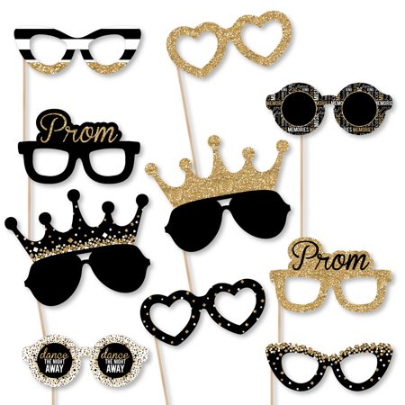 Prom Glasses - Paper Card Stock Prom Night Party Photo Booth Props Kit - 10 Count