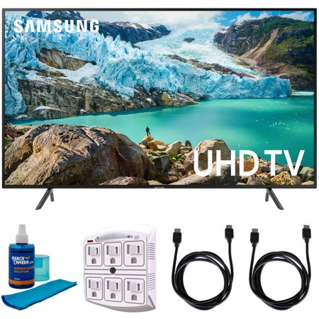 "Samsung 43"" RU7100 LED Smart 4K UHD TV 2019 Model (UN43RU7100FXZA) with Universal Screen Cleaner for LED TVs Large Bottle, SurgePro 6-Outlet Surge Adapter & 2x HDMI Cable"