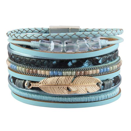 Bfiyi Leather Wrap Bracelet Women Prime Handmade Bangle Cuff Wristband Gold Tube Bracelet with Multilayer Wrap for Teen Girls, Wife, Lover Gift Blue-Feather leather bracelet Gold Handmade Bracelets