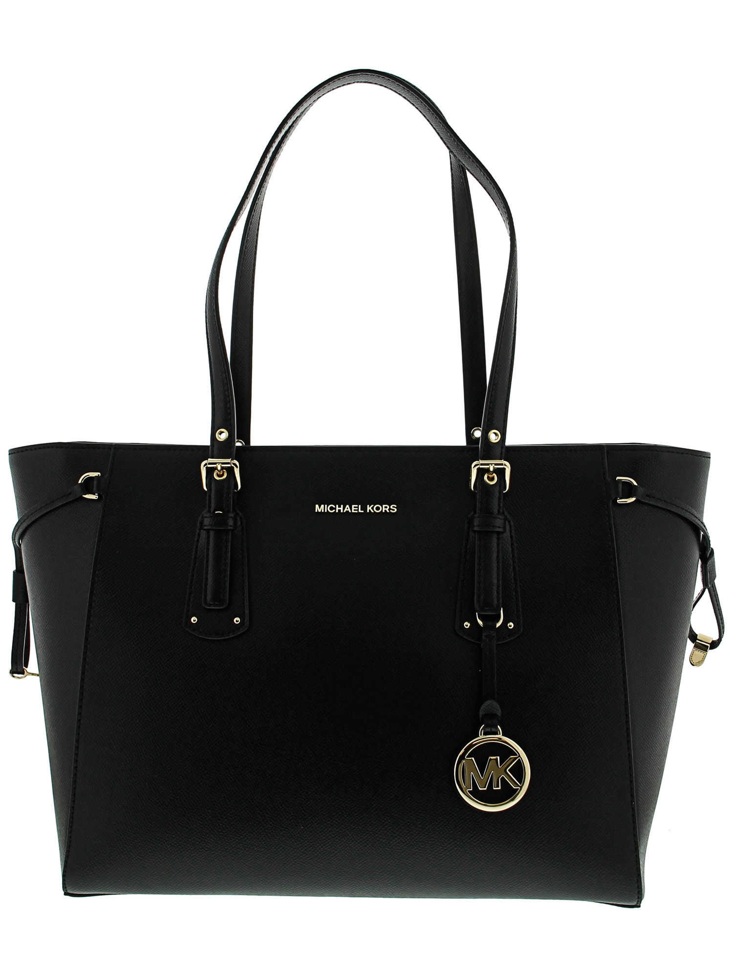 Michael Kors Women's Medium Voyager Leather Top-Handle Bag Tote - Black