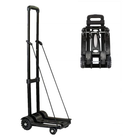 Heavy Duty Luggage - Folding Hand Truck, 70 Kg/155 lbs Heavy Duty 4-Wheel Solid Construction Utility Cart Compact and Lightweight for Luggage, Personal, Travel, Auto, Moving and Office Use - Portable Fold Up