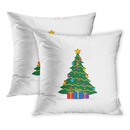 BSDHOME Green Xmas Christmas Tree Red Noel Year Ball Pillow Case Pillow Cover 16x16 inch Set of 2 - image 1 of 1