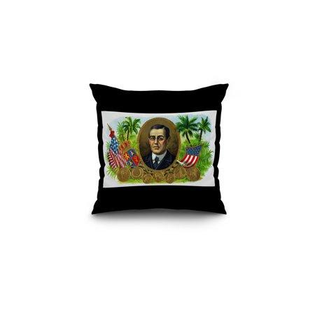 Woodrow Wilson Brand Cigar Box Label (16x16 Spun Polyester Pillow, Black Border)