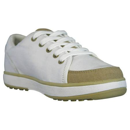 USA Dawgs WCG1896 DAWGS Womens Canvas Golf Crossover Shoe - White-Tan - Size 6