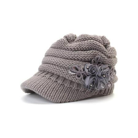 Meigar 2018 Winter Women Winter Warm Crochet Woolen Cap Windproof Brim Glamour Flowers Hat
