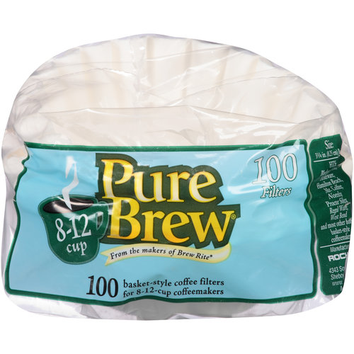 Pure Brew Coffee Filters for 8-12 Cup Coffeemakers, 100 count