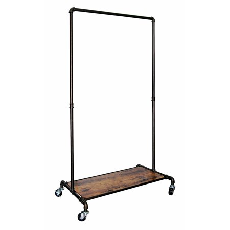 Real Home Garment Rack with Wood Shelf