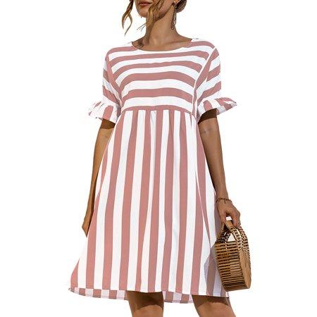Julycc Womens Short Sleeve Striped Print Ruffled Summer Beach Mini Dress