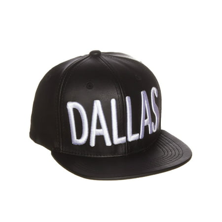 American Cities Faux Leather Block Embroidered Letters Flat Snapback Cap Hat ()