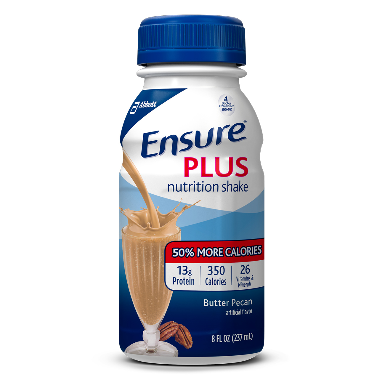 Ensure Plus Nutrition Shake with 13 grams of high-quality protein, Meal Replacement Shakes, Butter Pecan, 8 Fl oz, 6 Ct
