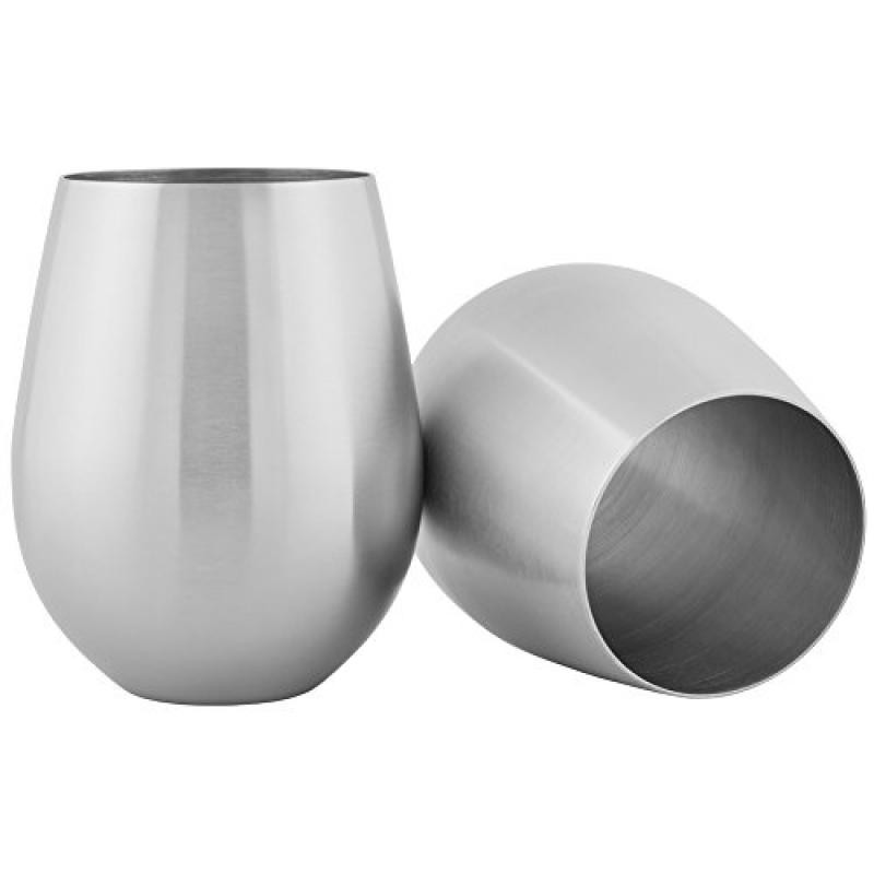 HomeLife Solutions Stainless 18 oz Steel Stemless Wine and Cocktail Glasses Pack of 2 by