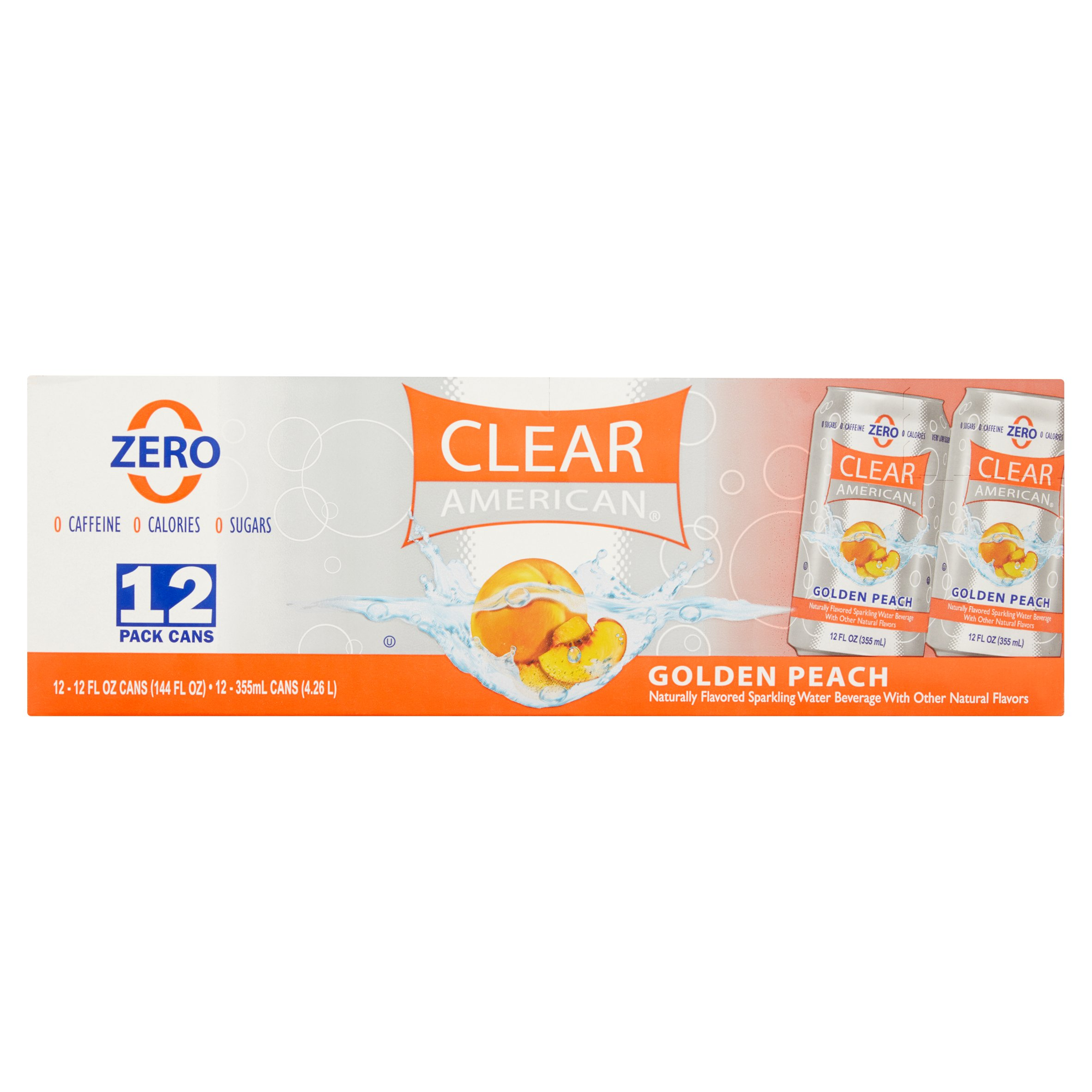 Clear American Sparkling Water, Golden Peach, 12 Fl Oz, 12 Count
