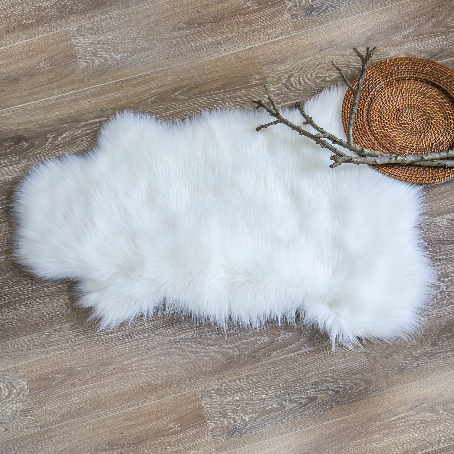 Deluxe Super Soft Faux Sheepskin Fur Chair Couch Cover Area Rug For Bedroom Floor Sofa Living Room 2 x 3 Feet White Color