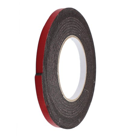 2 Pcs 5M 8mm x 3mm Dual-side Adhesive Shockproof Sponge Foam Tape Red Black - image 3 of 4