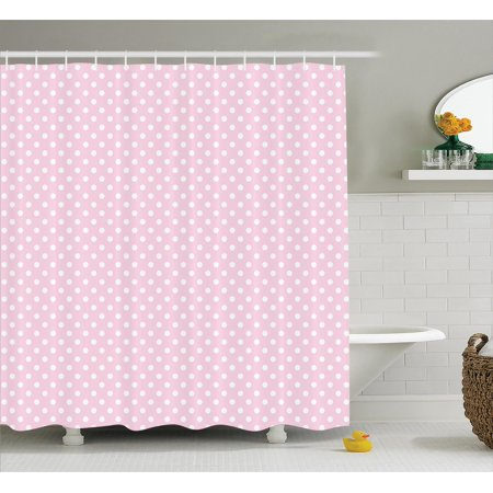 Polka Dots Home Decor Shower Curtain Set Tiny Little Retro Vintage Style Bridal