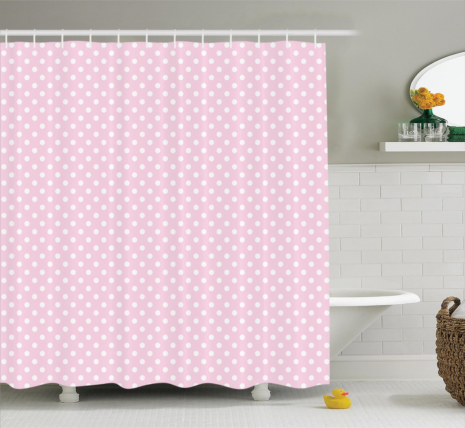 Polka Dots Home Decor Shower Curtain Set, Tiny Little Retro Polka Dots Vintage Style Bridal Nursery Kids Room Pattern, Bathroom Accessories, 69W X 70L Inches, By Ambesonne