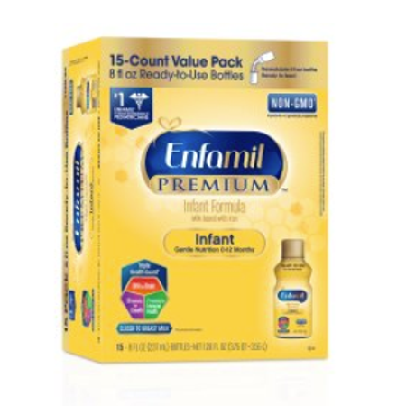 Enfamil PREMIUM Infant Formula (15 Count) Ready to Use 8 fl oz Bottles