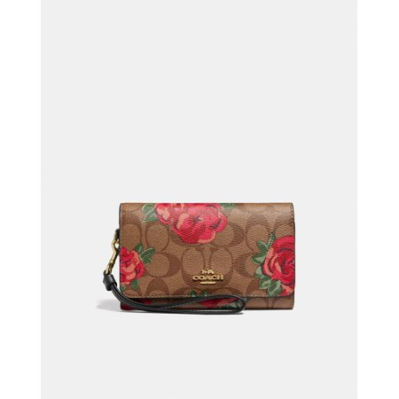 Coach Flap Phone Wallet In Signature Canvas With Jumbo Floral Print (KHAKI/OXBLOOD MULTI/LIGHT GOLD) Soho Signature Flap