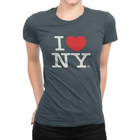 I Love Ny - I Love NY New York Womens T-Shirt Ladies Cap Sleeve Tee Heart Charcoal (Fitte...