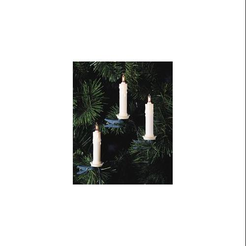 Set of 10 White Clip-On Candle Christmas Lights - Green Wire