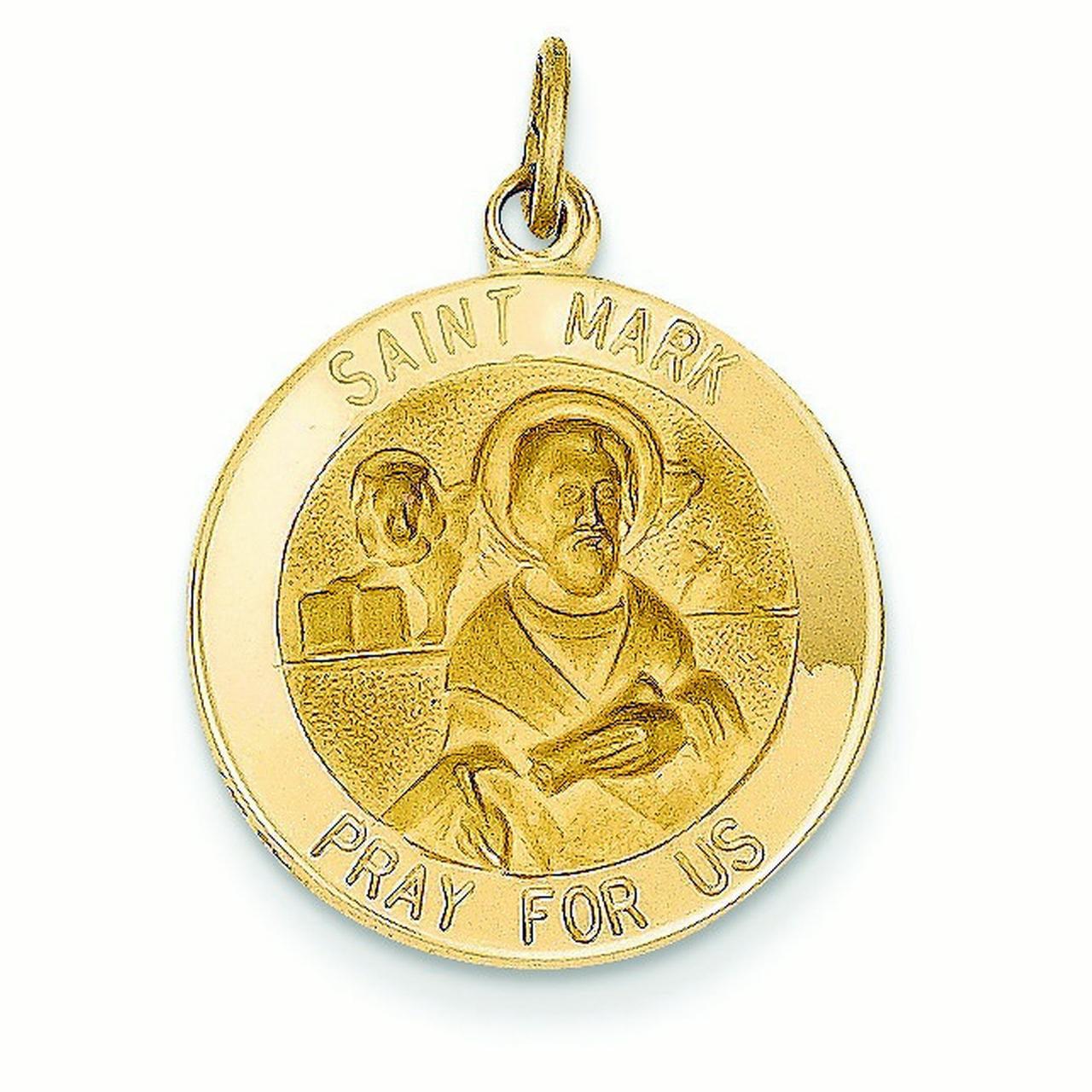 14k Yellow Gold Saint Mark Medal Pendant - Measures 18.1x23.6mm