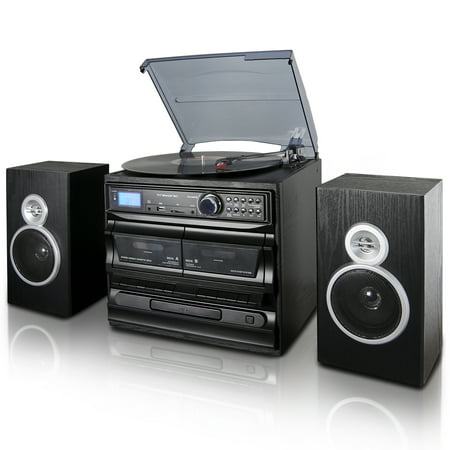 Turntable Cd Player (Trexonic 3-Speed Turntable With CD Player, Dual Cassette Player, BT, FM Radio & USB/SD Recording and Wired Shelf Speakers )