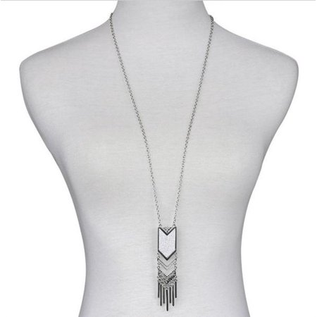 Silver Triangle Necklace (Long Bohemian Necklace Tassel Pendant Necklace Matte Triangle)