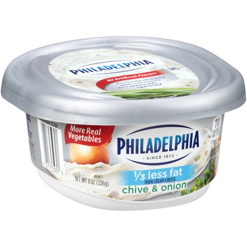 Kraft Philadelphia 1-Third Less Fat Chive & Onion Cream Cheese Spread, 8 oz