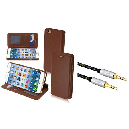 Insten Brown PU Leather MyJacket Wallet Cover Case w/ Tray for iPhone 6 6S 6G 6th Gen 4.7 inch (with 3.5mm Audio Cable)