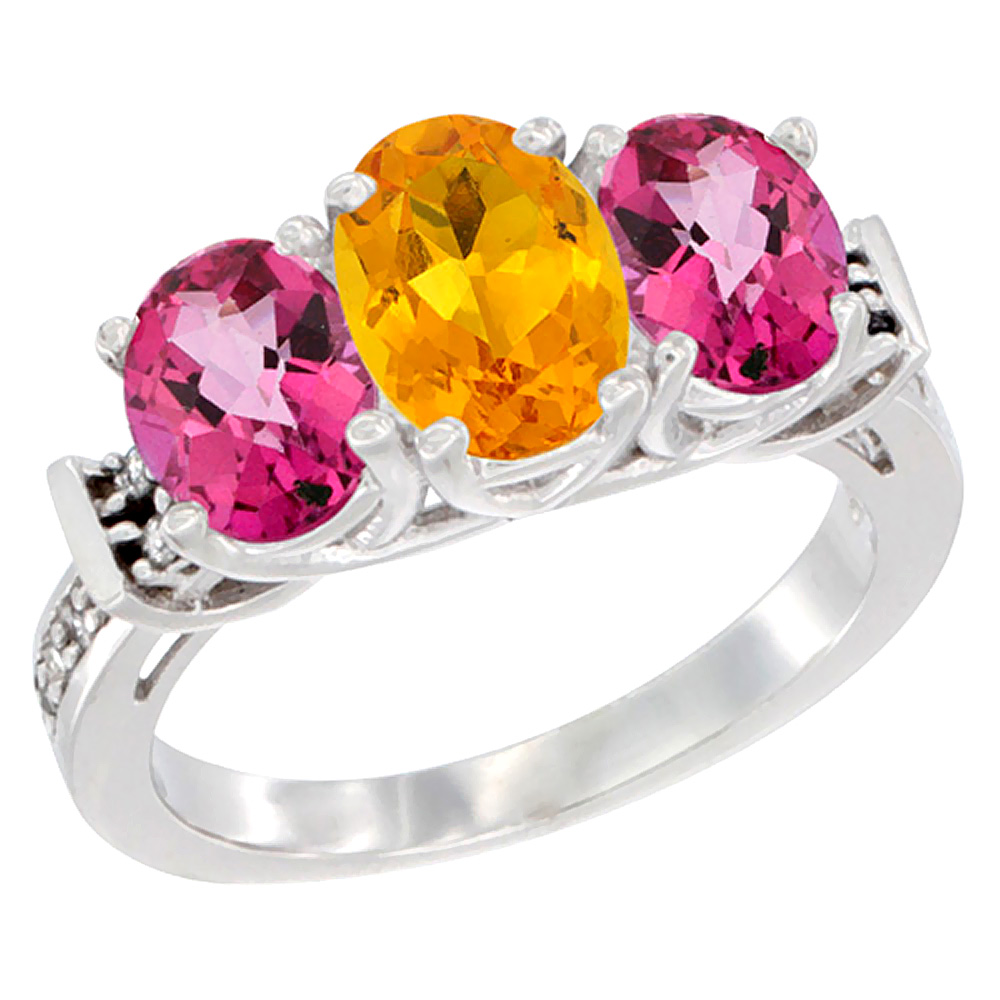 10K White Gold Natural Citrine & Pink Topaz Sides Ring 3-Stone Oval Diamond Accent, sizes 5 10 by WorldJewels