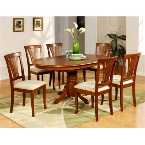 Wooden Imports Furniture AV5-SBR-C 5PC Avon Dining Table and 4 Microfiber Upholstered Seat Chairs in Saddle Brown Finish