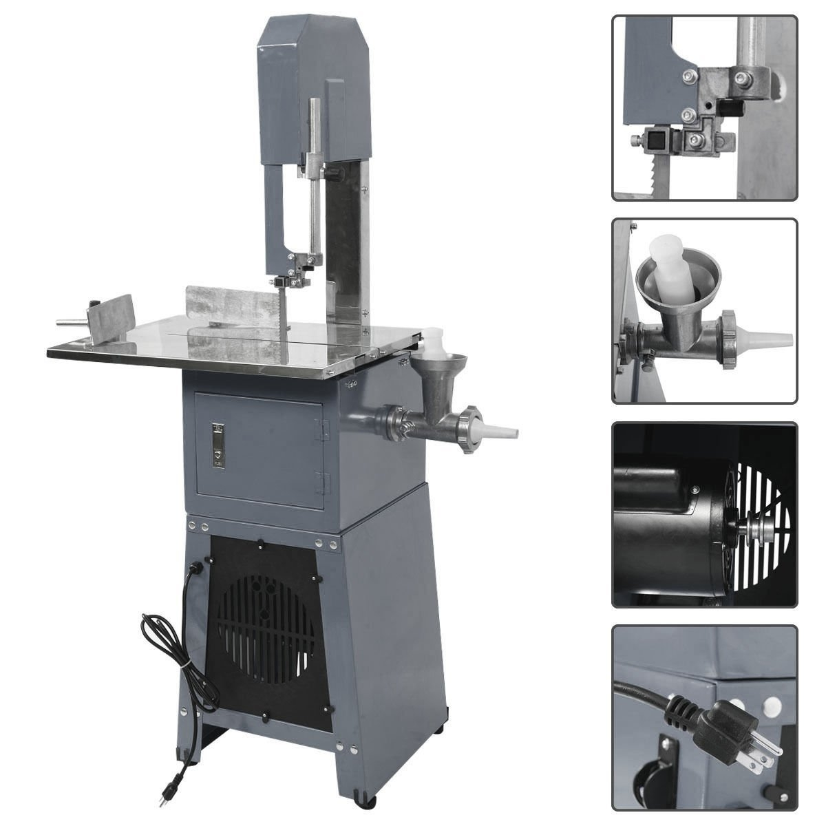 New Electric 550W Stand Up Butcher Meat Band Saw & Grinder Processor Sausage Gray by MTN Gearsmith