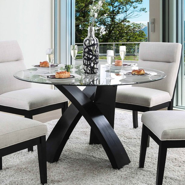 Furniture Of America Evans Round Glass, Round Glass Dining Room Table