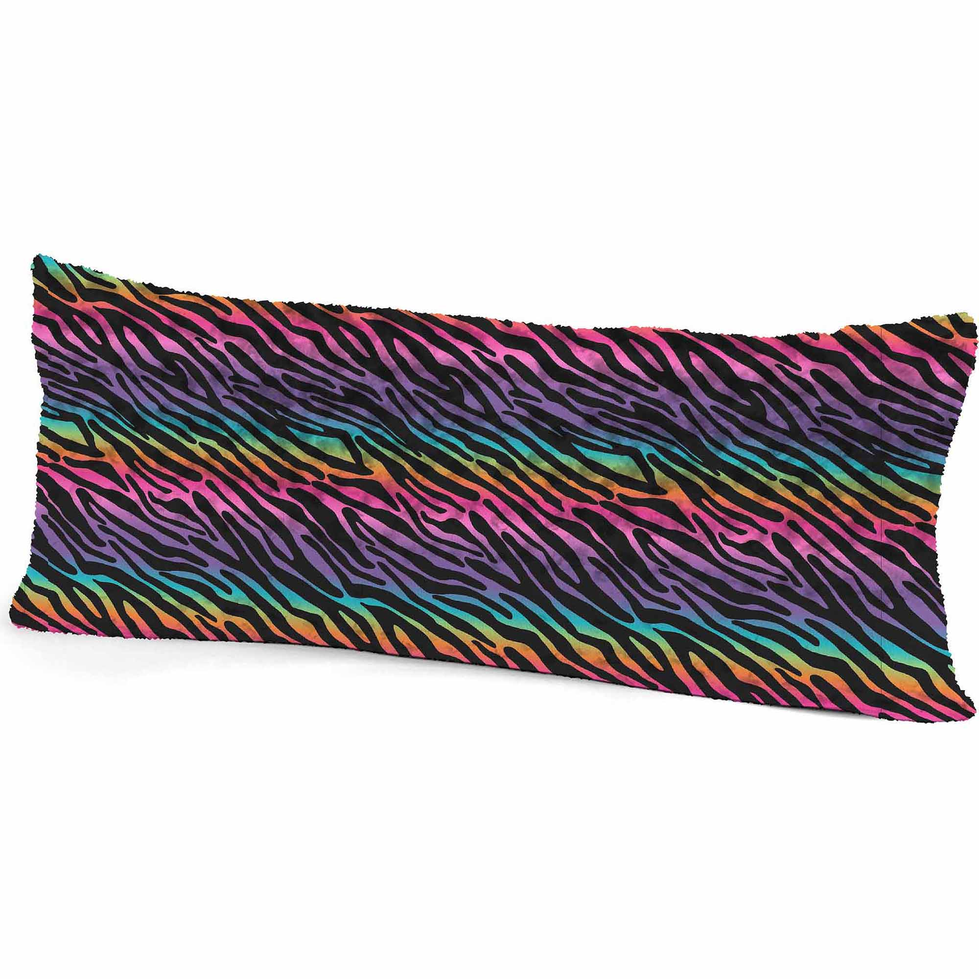 your zone rainbow zebra body pillow - walmart