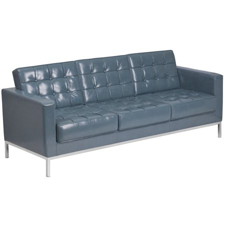 Flash Furniture HERCULES Lacey Series Contemporary Gray Leather Sofa with Stainless Steel Frame ()