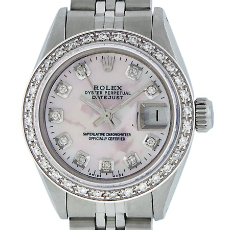 Pre-Owned Rolex Ladies Datejust Steel & 18K White Gold Blue Pink Mother of Pearl Diamond Watch Jubilee (Rolex Pink Gold)