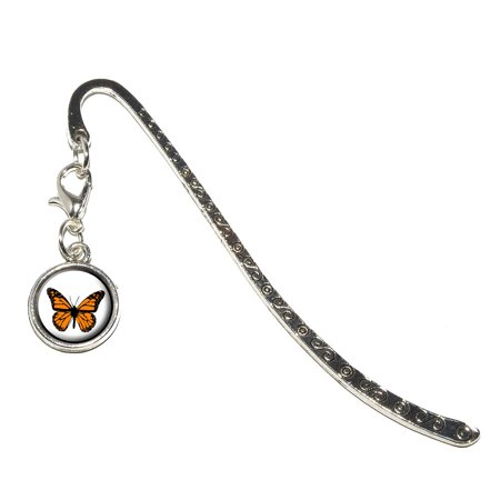 Monarch Butterfly Metal Bookmark with Charm ()