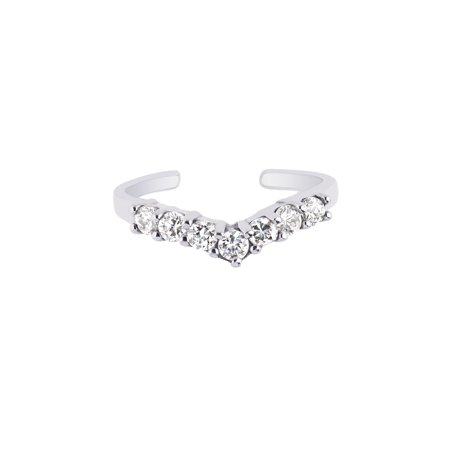 925 Sterling Silver CZ Slightly V-shaped Toe Ring Cubic Zirconia White Gold Toe Ring